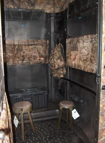 THE DOUBLE FX DELUXE MOBILE HUNTING BLIND SYSTEM SHOWN WITH THE ATS BUCK U0026  BULL OPTIONAL HUNTING CHAIRS.